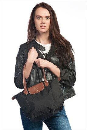 [2605-S號] 國外Outlet代購正品 法國巴黎 Longchamp 長柄 購物袋防水尼龍手提肩背水餃包墨黑色 3