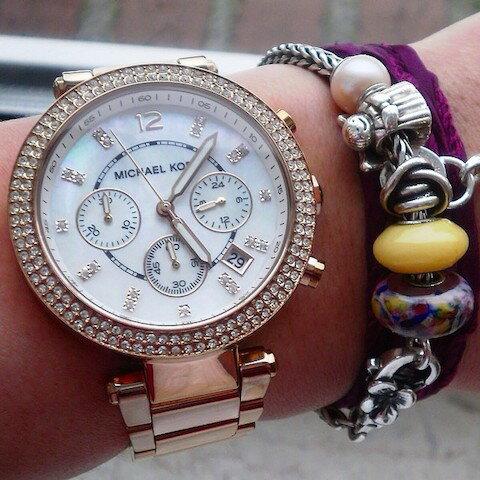 【限時8折 全店滿5000再9折】MichaelKors MK 粉玫瑰金 水鑽  陶瓷  三環 手錶 腕錶 MK5896 美國Outlet正品代購 6