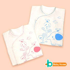 ^~ Baby House ^~ Mini小象單色印花紗布肚衣^(1入^)~愛兒房 館~