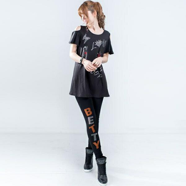 上衣 Betty Boop 挖肩荷葉袖貼鑽傘狀長版上衣 1