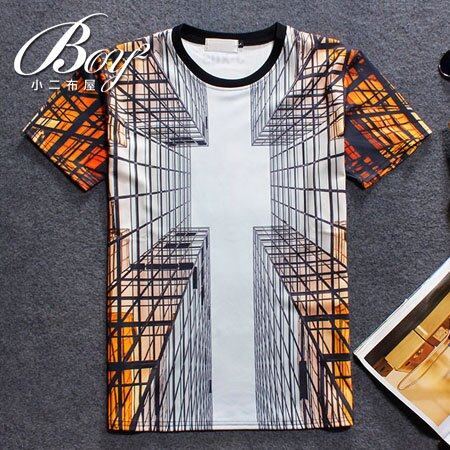 ☆BOY-2☆【NQ92079】滿版休閒透視感男裝短袖T恤 0