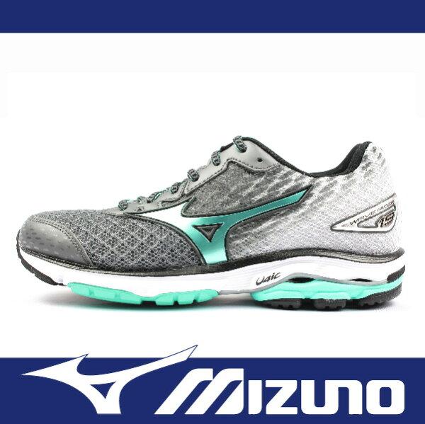 【出清65折!】萬特戶外運動 MIZUNO美津濃 J1GD160334 女慢跑鞋 WAVE RIDER 19 耐磨大底 舒適 吸震 漸層 灰綠色