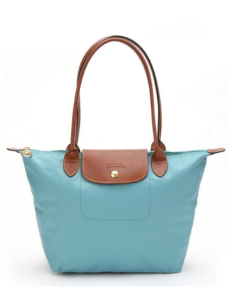 [2605-S號] 國外Outlet代購正品 法國巴黎 Longchamp 長柄 購物袋防水尼龍手提肩背水餃包 湖水藍色 0