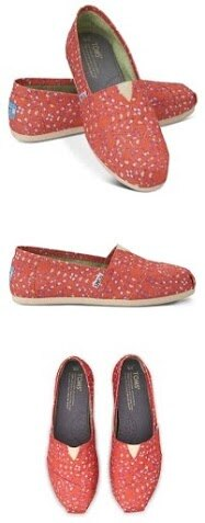 【TOMS】橘紅色幾何條紋平底休閒鞋  Coral Geometric Tie-Dyed Vegan Women's Classics 8