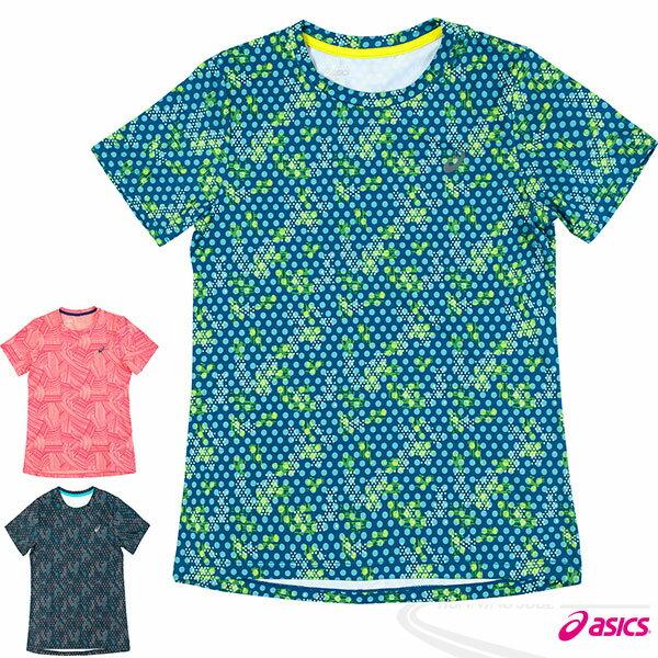 ASICS 亞瑟士 fuzeX女慢跑印花T恤(花綠)  休閒衣 慢跑 路跑 2016最新款