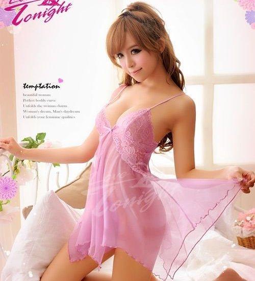 性感糖果 魅力滿點 胸下開襟 不規則的裙襬蕾絲 睡襯衣  丁字褲 情趣 性感睡衣 情趣用品