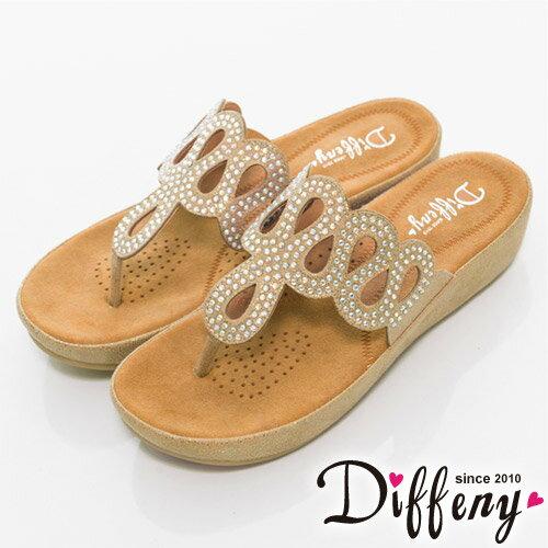 Diffeny 輕鬆夏季-復古貼鑚造型夾腳涼鞋-金