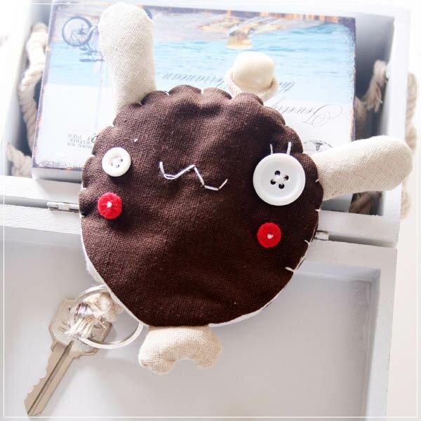 魔法Baby~日本風手工拼布鑰匙(鈕扣小兔)~孩童&大人用品~時尚設計~f0065