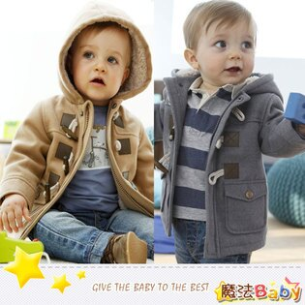 魔法Baby~厚款牛角釦保暖內羊羔絨寶寶連帽外套(駝、深灰)~童裝~男童裝~時尚設計童裝~k26719