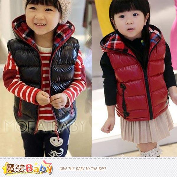 魔法Baby~韓版厚款鋪棉連帽無袖外套/夾克(黑.紅)~男女童裝~k32840