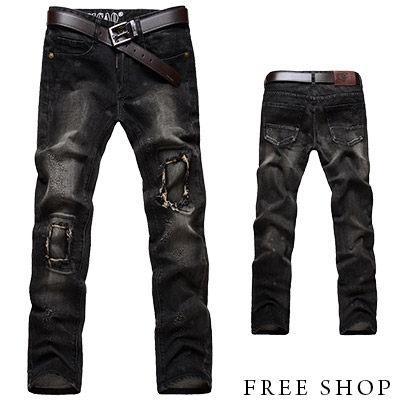 Free Shop【QR30165】日韓系街頭風格簡約貼布設計破壞抽鬚丹寧牛仔褲牛仔長褲‧黑色