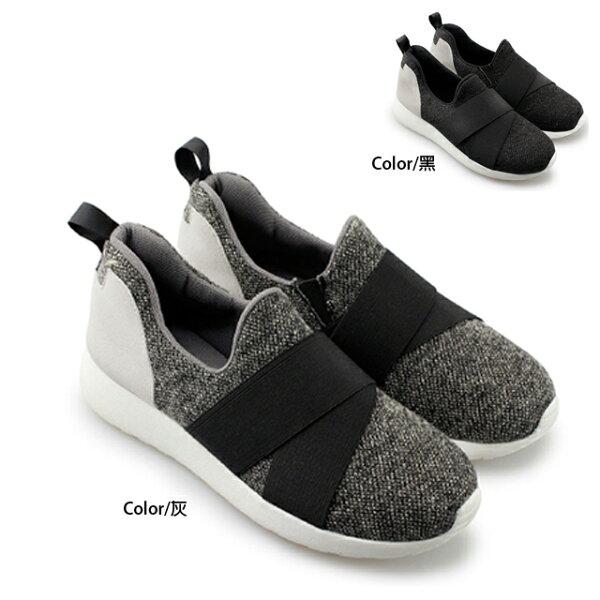 慢跑鞋 [與你時尚] 繃帶潮流休閒 懶人鞋 樂福鞋 FA108