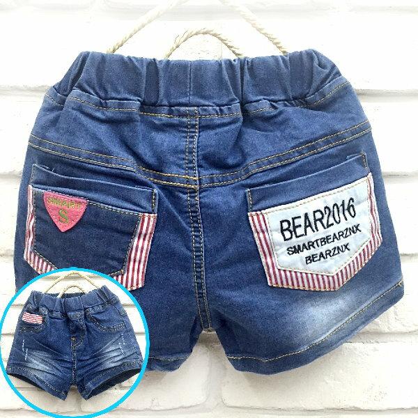 【班比納精品童裝】超彈力後英字直條拼色口袋牛仔短褲/熱褲-藍【BB160220003】
