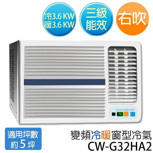 P牌 CW-G32HA2 R410a環保新冷媒(適用坪數約5坪、3100kcal)變頻 右吹窗型冷暖氣.