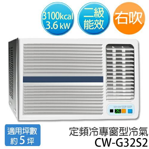 P牌 CW-G32S2 R410a環保新冷媒(適用坪數約5坪、3100kcal)右吹 定頻窗型冷氣.