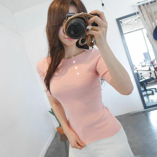 PS Mall 韓版緊身針織百搭T恤 短袖上衣【T903】