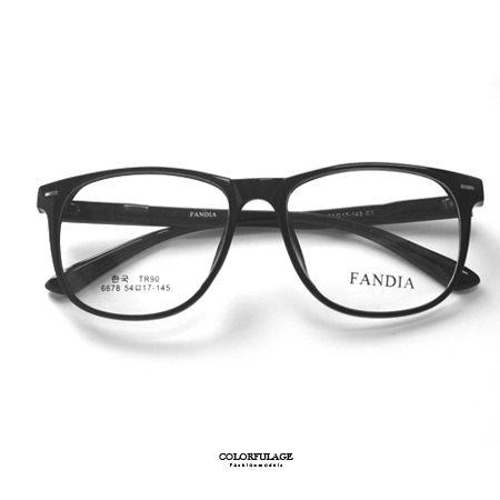 光學眼鏡 萬年不敗亮面黑膠框光學鏡架鏡框 中性款式 鏡片可拆 TR90 柒彩年代【NYA8】可配度數鏡片 - 限時優惠好康折扣
