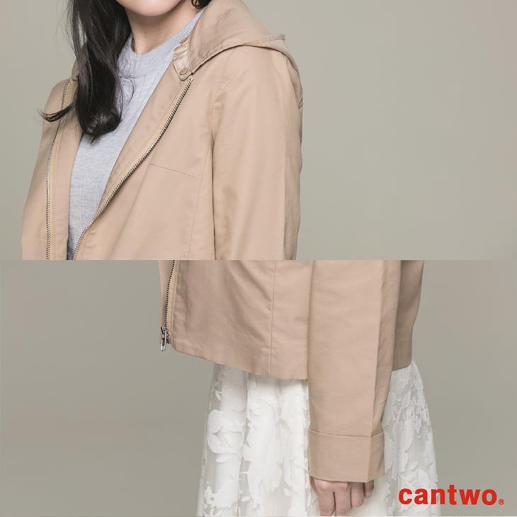 cantwo微光澤連帽短版風衣外套(共三色) 4