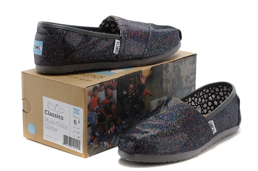 【TOMS】經典亮片款平底休閒鞋(七彩黑色)  Authentic Multi Glitter Women's Classics 5