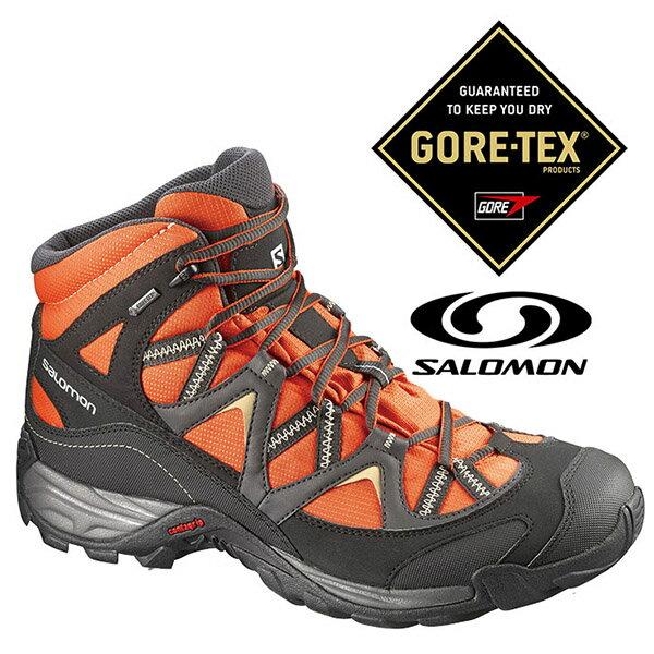 Salomon 男 MEZARI MID Gore-Tex 中筒 防水登山健行鞋 『番茄橘/黑』373767|登山鞋