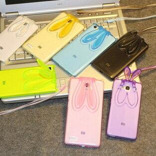 小米 紅米2 新款透明兔耳朵支架手機殼 紅米2A 掛繩兔子矽膠保護套