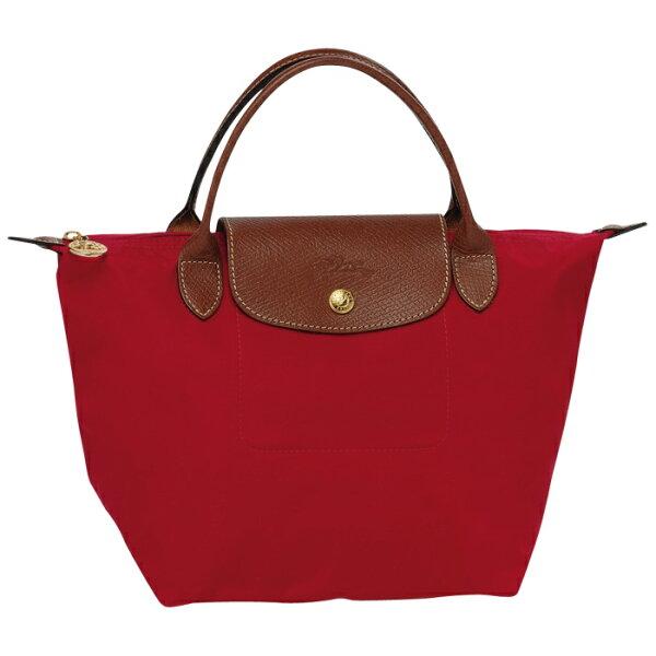 [短柄S號] 經典紅 國外Outlet代購正品 法國巴黎 Longchamp [1621-S號] 購物袋防水尼龍手提肩背水餃包