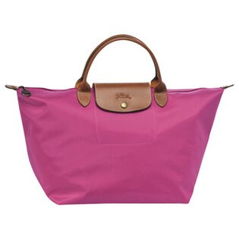 [1623-M號] 國外Outlet代購正品 法國巴黎 Longchamp 長柄 購物袋防水尼龍手提肩背水餃包桃紅色