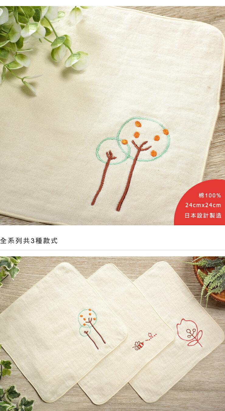 日本今治 - ORUNET - 刺繡手帕(樹)《日本設計製造》《全館免運費》,有機棉,純棉100%,觸感細緻質地柔軟,吸水性強,日本設計製造,天然水洗滌工法,不使用螢光染料,不添加染劑