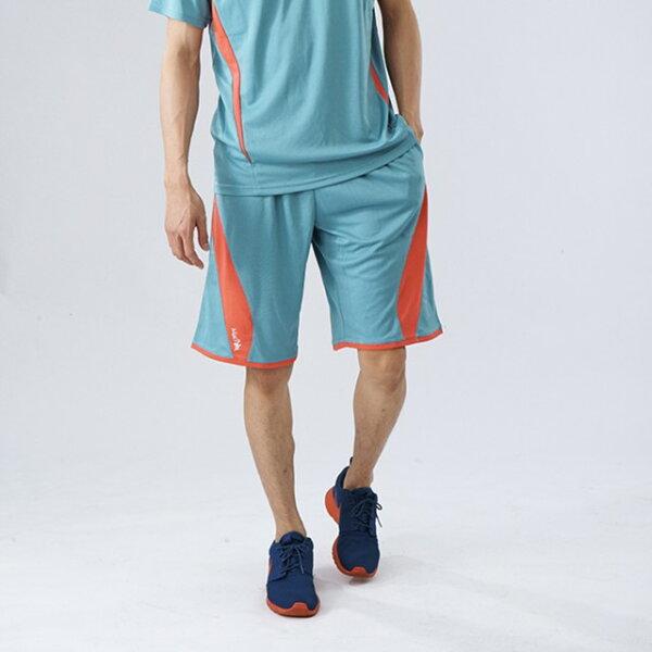 【MACPOLY】開幕下殺85折/男超強速乾透氣撞色籃球慢跑運動褲/短褲(湖水藍色 M-2XL)