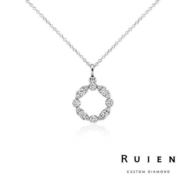 0.25克拉 14K白金 限量款 墜子項鍊 輕珠寶鑽石項鍊 RUIEN 瑞恩珠寶