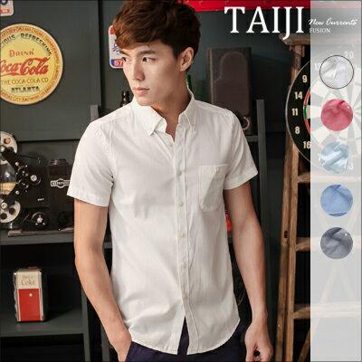 短袖襯衫~NTJBDJ460~日韓風格‧ 素面修身口袋立領短袖襯衫‧五色‧加大 ‧圖案 格