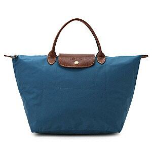 [1623-M號]國外Outlet代購正品 法國巴黎 Longchamp  短柄 購物袋防水尼龍手提肩背水餃包 孔雀藍 0