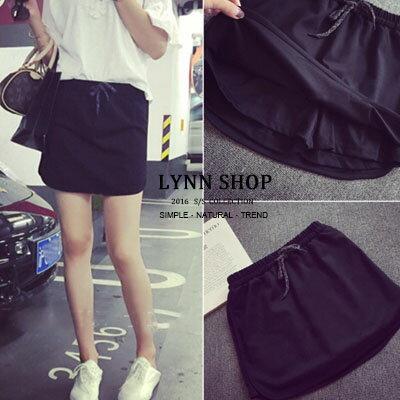 Lynn Shop 【1500260】褲裙 防走光休閒感鬆緊黑色褲裙 預購