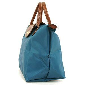 [短柄S號]國外Outlet代購正品 法國巴黎 Longchamp [1621-S號] 短柄 購物袋防水尼龍手提肩背水餃包 孔雀藍 2