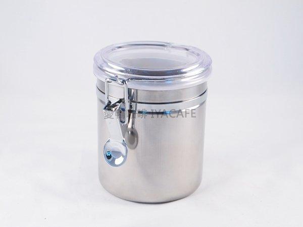 《愛鴨咖啡》不銹鋼密封罐 咖啡豆 儲豆罐 食品密封罐 12.5x10.7cm