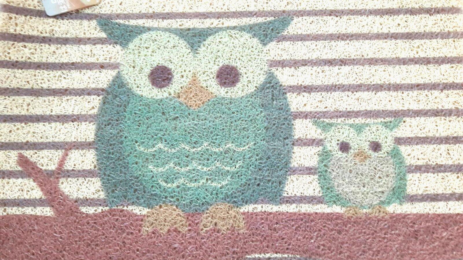 La maison 小舖~印花刮泥繪圖地墊腳踏墊~可愛親子貓頭鷹圖案 耐用防滑 玄關、客廳