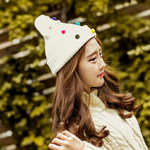 保暖帽子 針織帽 毛帽 甜美彩色糖果毛帽【C0982】艾咪E舖  情侶 配件 1