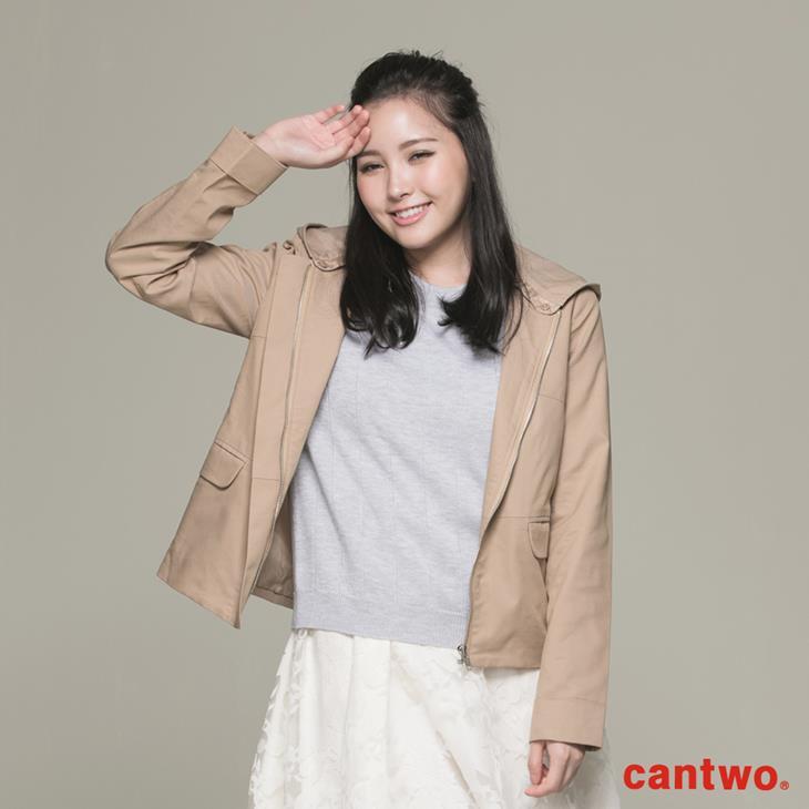 cantwo微光澤連帽短版風衣外套(共三色) 0