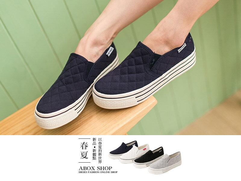 格子舖*【APRW855】 韓國熱賣 格菱紋車線布料 厚底增高3.5CM休閒帆布鞋 樂福鞋 懶人鞋 4色 1