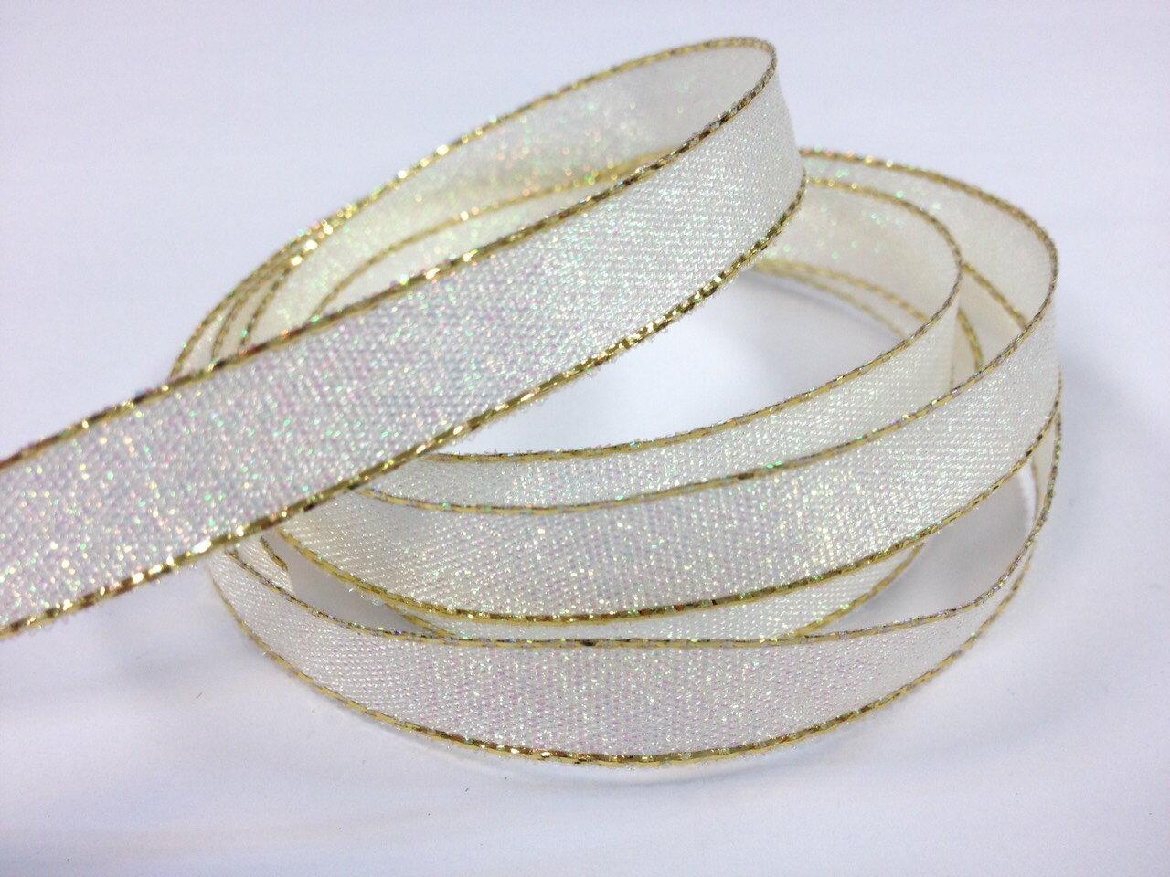 彩色金蔥鐵絲緞帶3mm、6mm、10mm 3碼 (10色) 3