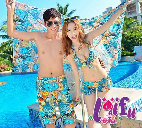 來福,A88情侶泳衣花草特別褲設計加大泳衣情侶泳衣游泳衣泳裝比基尼,單男生售價580元