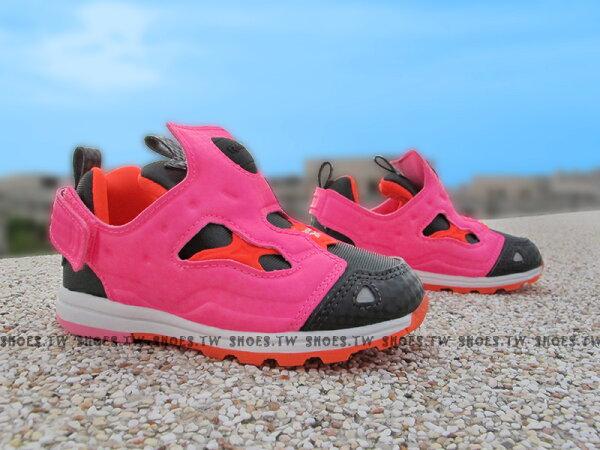 Shoestw【AR0716】Reebok Pump Fury 小童鞋 黑螢光桃紅 襪套 黏帶 小童