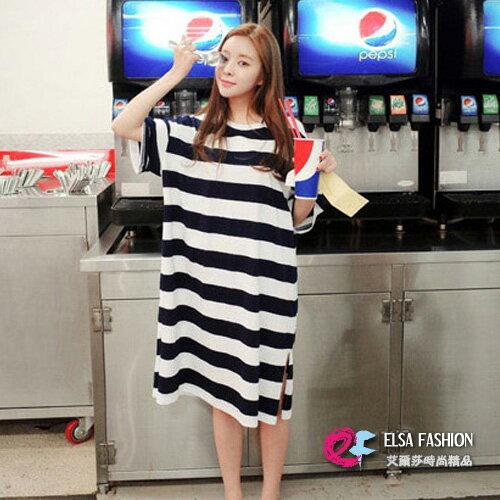 韓版長版T恤睡衣洋裝 艾爾莎 舒適寬鬆圓領短袖條紋T恤裙連身裙【TQT0035】 0
