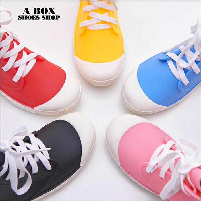 格子舖【AR038】晴雨兩穿2ways 超防水  韓版綁帶造型雨鞋 雨靴 帆布鞋 5色 3