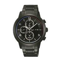 agnès b.到agnes b V172-0AX0D(BY6003P1)太陽能巴黎時尚計時腕錶/黑面42mm