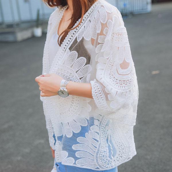 蕾絲透膚罩衫 小外套 薄 寬袖外搭 白蕾花透明 遮陽防曬 韓