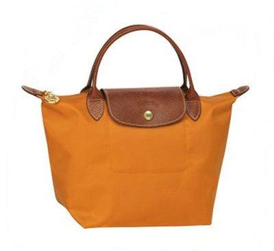 [短柄S號]國外Outlet代購正品 法國巴黎 Longchamp [1621-S號] 短柄 購物袋防水尼龍手提肩背水餃包 亮橙色