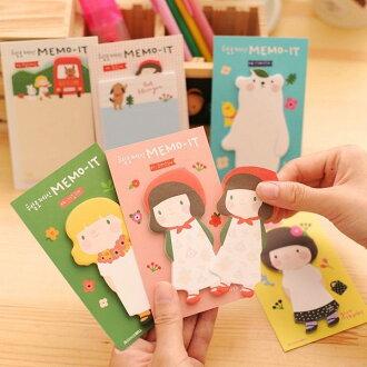 PS Mall 韓版文具 可愛圍裙女孩 卡通創意便條紙 便利貼 N次貼【J2163】