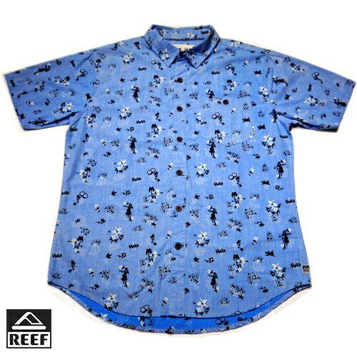 【5折優惠↘】REEF 熱情夏威夷女郎印花男版襯衫.藍