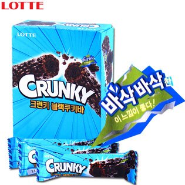 有樂町進口食品 韓國進口 Lotte Crunky黑巧克力棒 12入  K15 8801062637966